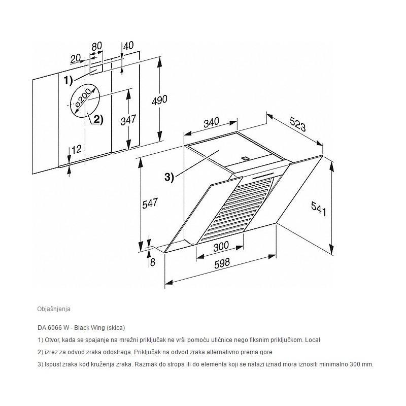 miele da 6066 w zidna napa bijela tehnika web shop ekuhinja. Black Bedroom Furniture Sets. Home Design Ideas